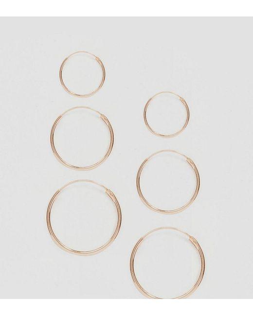 ASOS - Metallic Design Pack Of 3 Rose Gold Plated Sterling Silver Hoop Earrings - Lyst