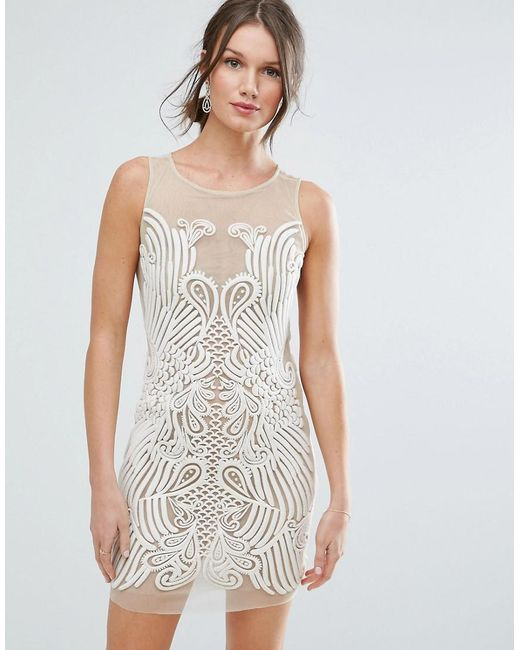 ASOS - Natural Placed Illusion Embroidered Mini Dress - Lyst