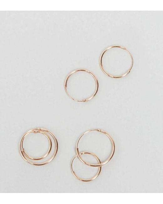 ASOS | Metallic Pack Of 3 Rose Gold Plated Sterling Silver Hoop Earrings | Lyst