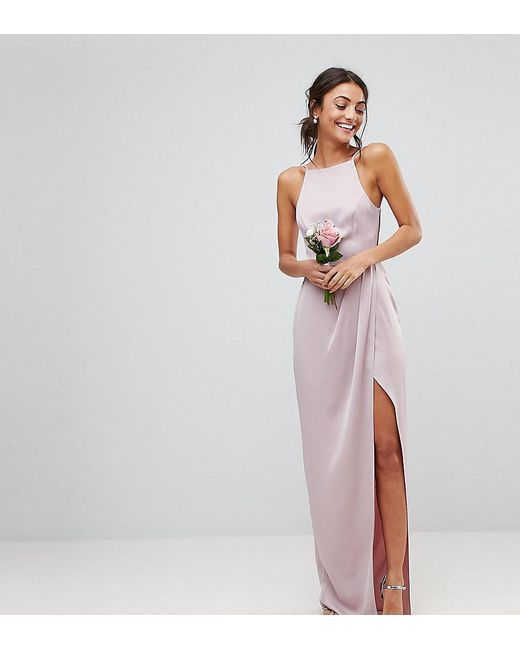 ca6848ed8805 ASOS - Pink Asos Design Tall Drape Front Strappy Back Maxi Dress - Lyst ...