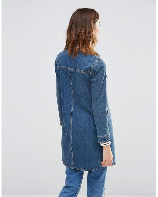 Warehouse Longline Denim Jacket - Blue In Blue