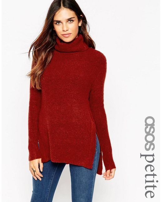 ASOS | Brown Petite Jumper In Brushed Yarn With High Neck And Side Splits | Lyst