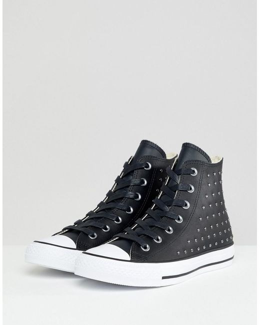 a3548bfc496 Converse - Chuck Taylor All Star Leather Studded Hi Sneakers In Black -  Lyst ...