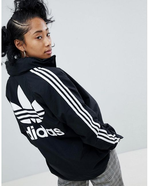 Adidas Originals - Adicolor Three Stripe Stadium Jacket With Hood In Black - Lyst