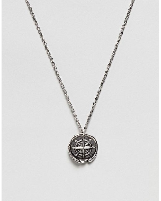 ASOS DESIGN - Metallic Necklace With Compass Coin In Burnished Silver Tone for Men - Lyst