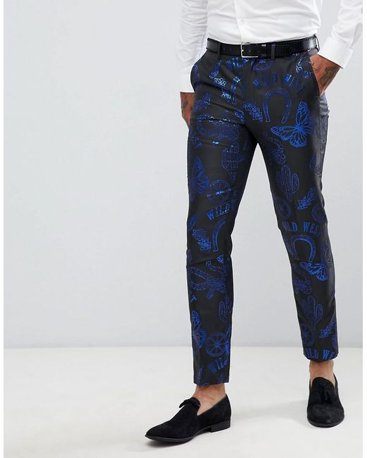 Lyst Asos Skinny Suit Pants In Western Jacquard In Black For Men