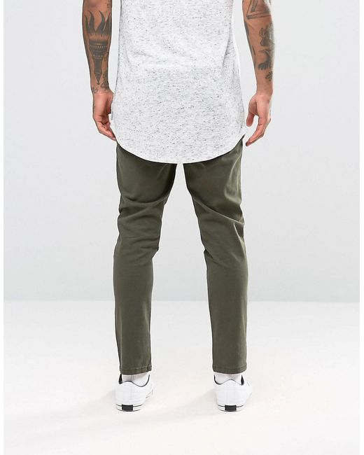 Asos Slim Cropped Chino Joggers In Dark Green In Green For Men (Forestnight) | Lyst