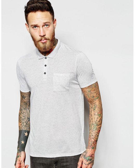 ASOS | Gray Slub Polo In Grey for Men | Lyst