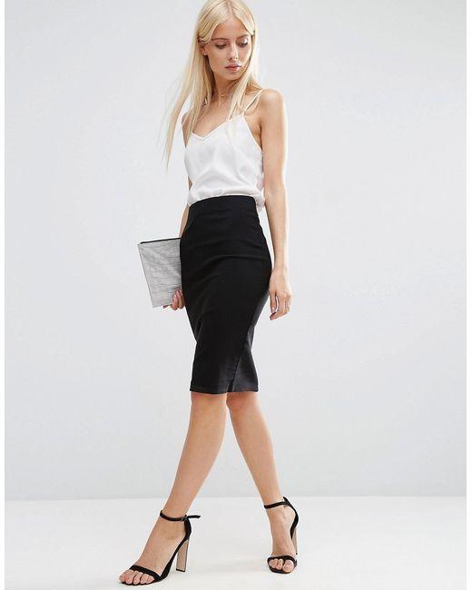 asos high waisted pencil skirt in black lyst. Black Bedroom Furniture Sets. Home Design Ideas