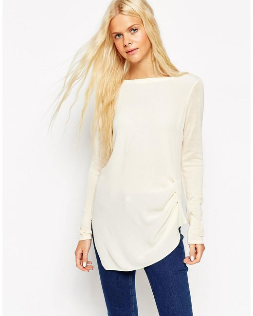 ASOS | Natural Knitted Tunic Top With Woven Front - Cream | Lyst