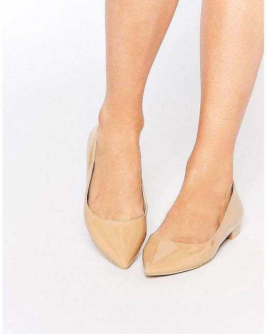 ASOS | Natural Lost Pointed Ballet Flats | Lyst