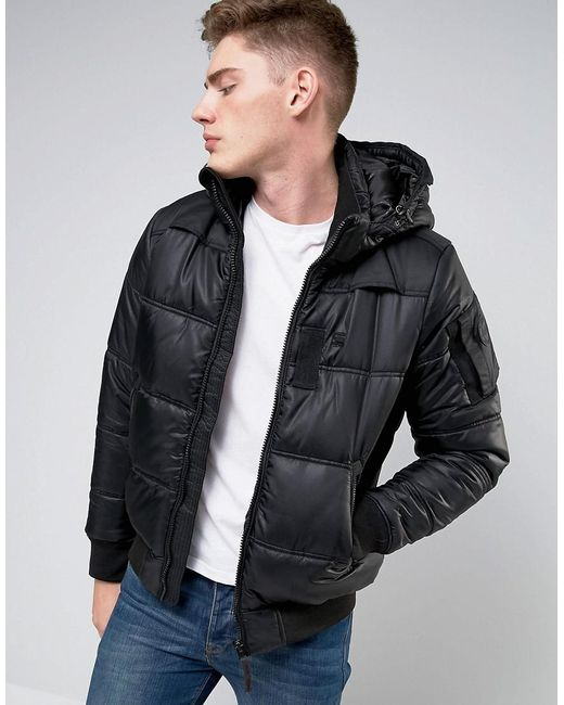 g star raw whistler hooded bomber jacket in black for men. Black Bedroom Furniture Sets. Home Design Ideas