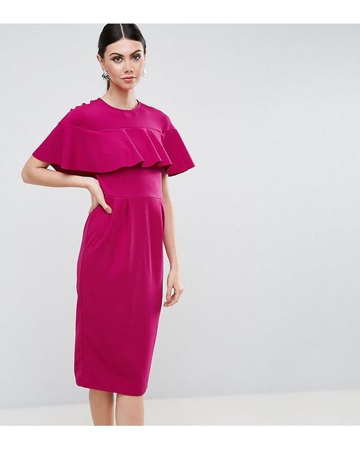 ASOS - Purple Wiggle Dress With Frill Sleeve Detail - Lyst
