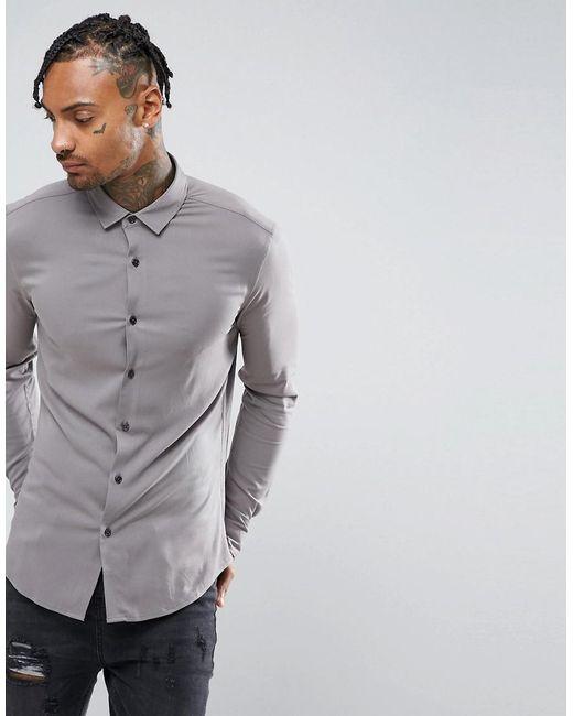 ASOS - Gray Skinny Viscose Shirt In Grey for Men - Lyst