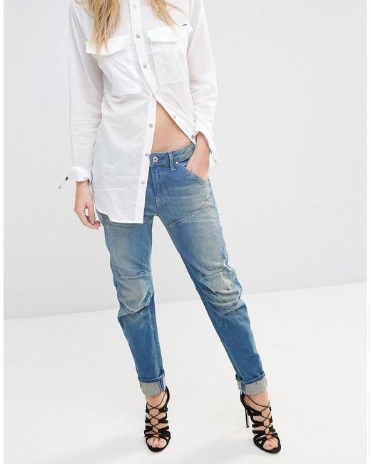 g star raw ellwood 3d low boyfriend jeans blue in blue. Black Bedroom Furniture Sets. Home Design Ideas