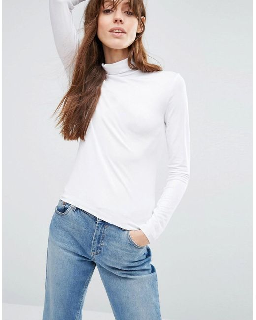 ASOS   White The Polo Neck With Long Sleeves   Lyst