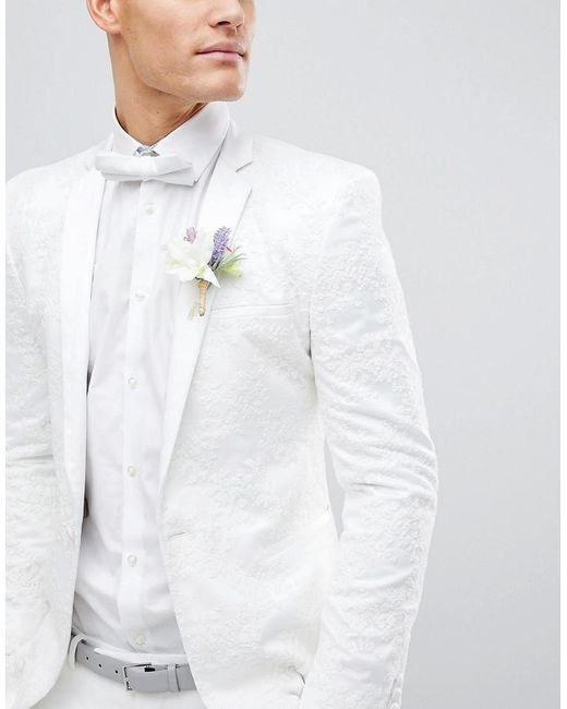 ASOS - White Wedding Skinny Blazer With Cream Floral Embroidery for Men - Lyst