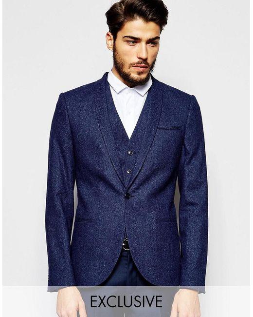 Noak | Blue Wool Blazer In Super Skinny Fit With Fleck for Men | Lyst