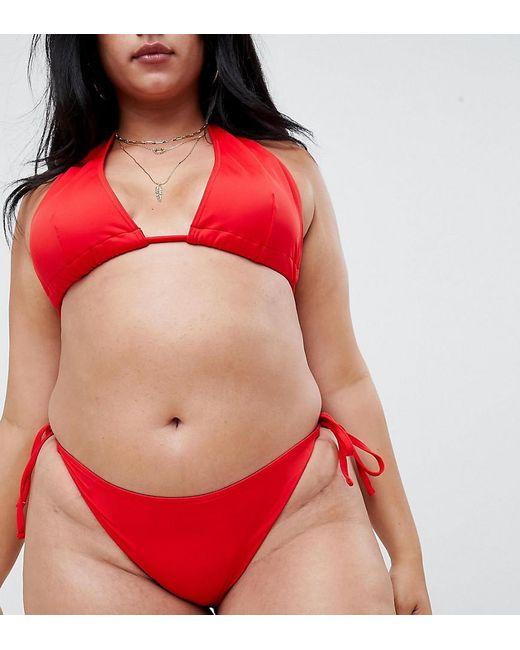 ASOS - Red Asos Design Curve Recycled Tie Side Bikini Bottom - Lyst