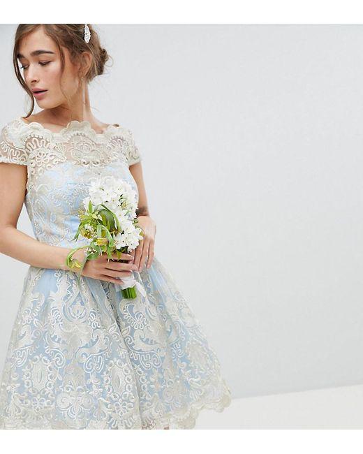 Chi Chi London - Blue Premium Lace Midi Prom Dress With Bardot Neck - Lyst