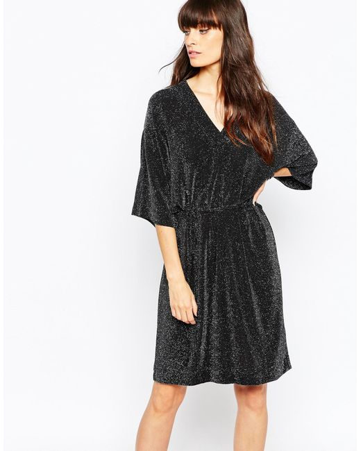 Just Female   Black Lux Kimono Dress   Lyst