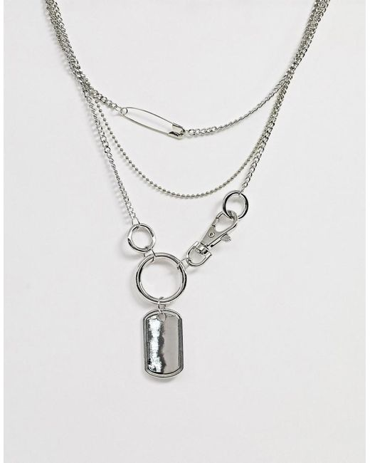 ASOS Metallic Multirow Necklace With Hardware Clip And Dog Tag Pendants In Silver Tone