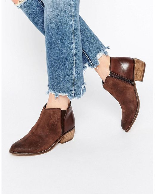 dune penelope brown suede ankle boot in brown lyst