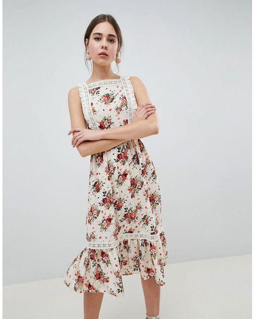 dc95bd04d7 ASOS - Multicolor Jumper Midi Dress In Ditsy Print - Lyst ...