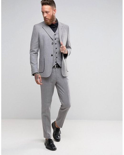 Asos Skinny Suit Jacket With Piping Detail In Light Grey in Gray ...