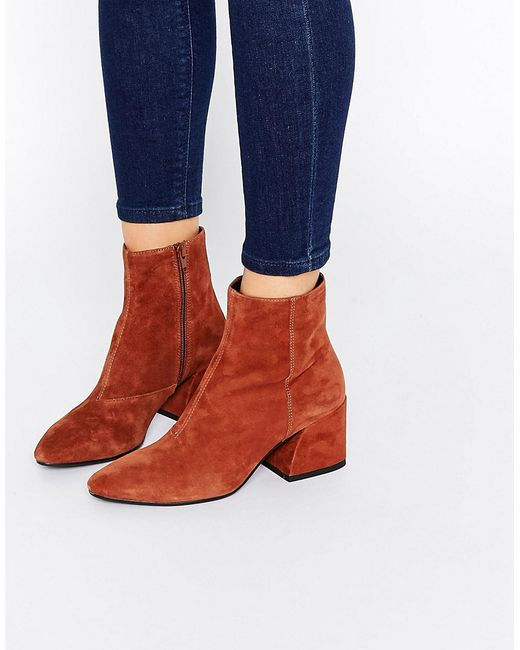 Vagabond Olivia Tan Suede Heeled Ankle Boots In
