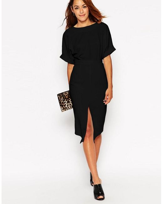 ASOS | Black Wiggle Dress With Split Front | Lyst