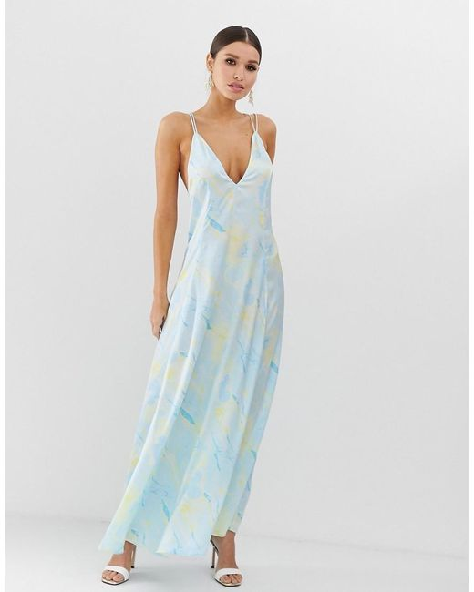 50f737784d64e ASOS - Blue Trapeze Maxi Dress In Satin Marble Print - Lyst ...
