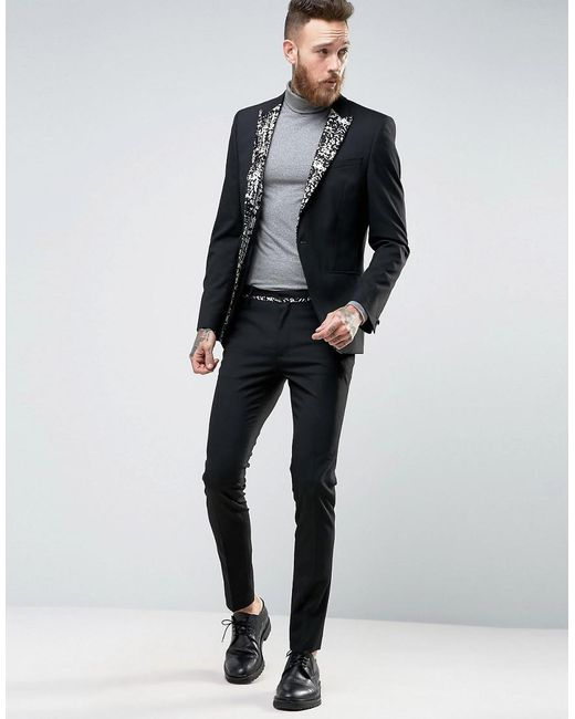 Asos Super Skinny Suit Jacket With Black And Gold Lapel in Black ...