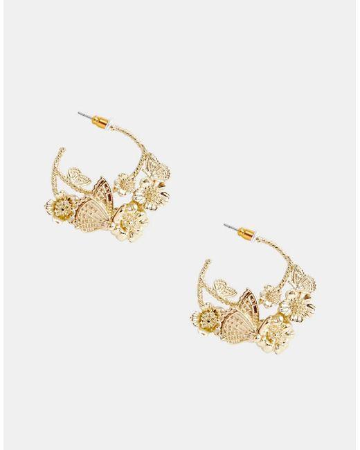 ASOS - Metallic Hoop Earrings In Pretty Butterfly Design In Gold - Lyst