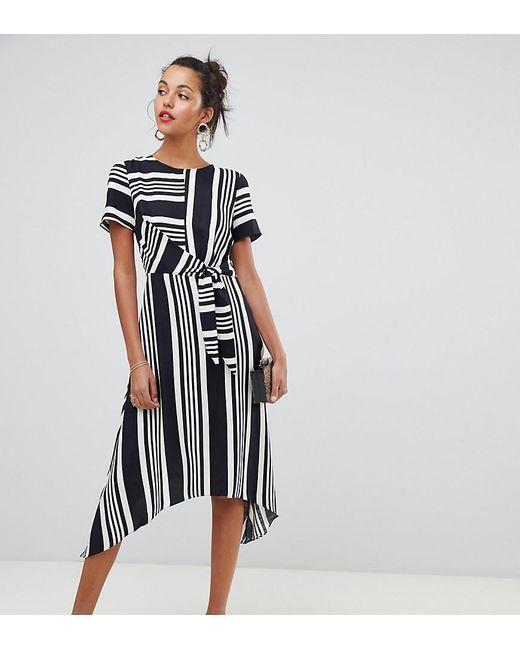 e67e4b24a9 Oasis Hanky Hem Midi Dress In Black   White Stripe in Black - Lyst