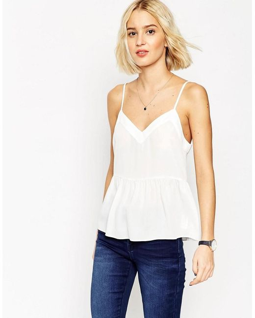 ASOS | White Soft Gathered Pretty Cami Top | Lyst