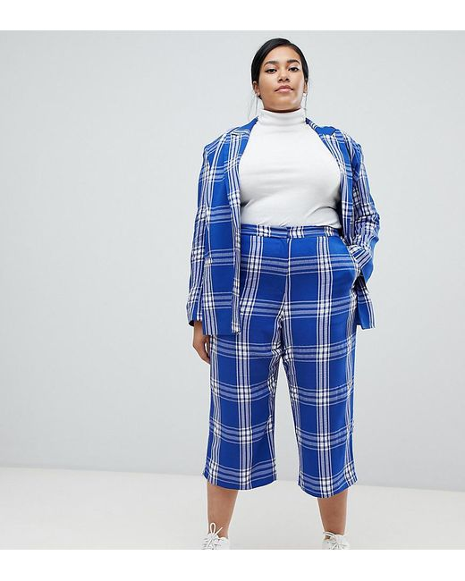 1b90846ff5 ASOS - Asos Design Curve Tailored Blue Picnic Check Cropped Wide Leg Pants  - Lyst ...