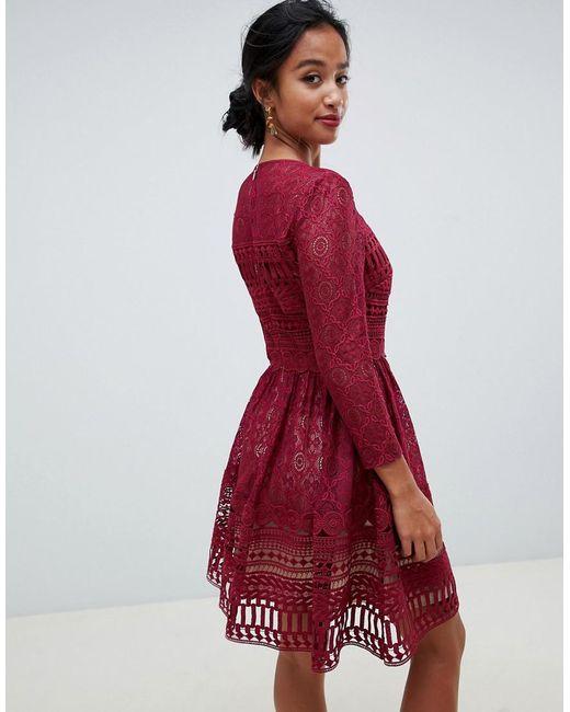 ae73237833 ... ASOS - Red Asos Design Premium Petite Lace Mini Skater Dress - Lyst