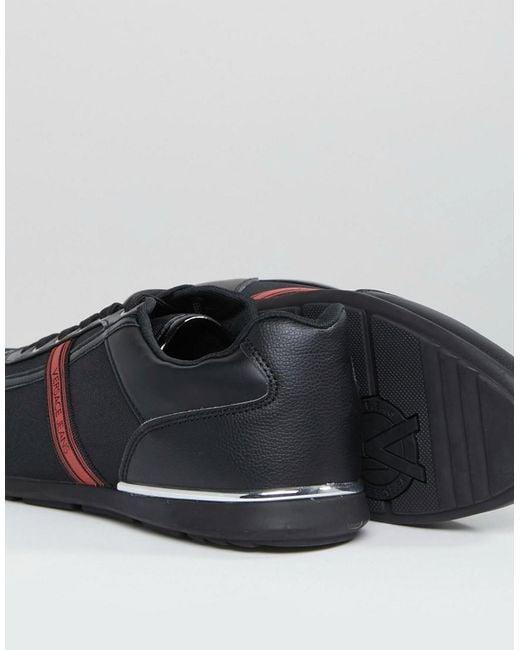 Jean Versace Formateurs En Noir Avec Bande Logo - Noir kwS1sE