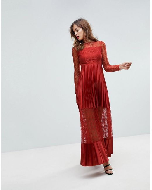 ASOS - Red Satin Panelled Lace Pleated Maxi Dress - Lyst
