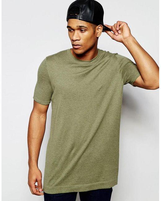 ASOS | Green Longline Knitted T-shirt In Khaki for Men | Lyst