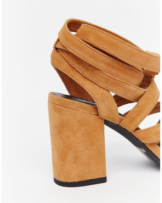 Senso Enso Ralphie Tan Suede Tie Up Heeled Sandals In