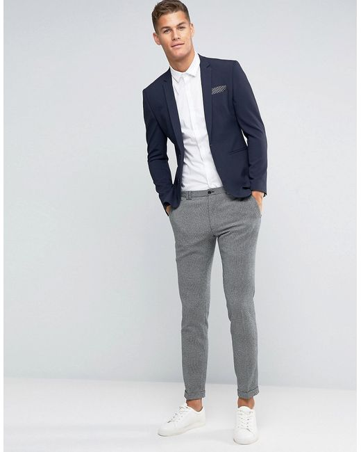 Asos Wedding Super Skinny Suit Jacket In Navy in Blue for Men | Lyst