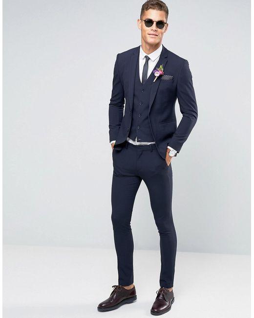 Asos Wedding Super Skinny Suit Jacket In Navy in Blue for Men | Lyst