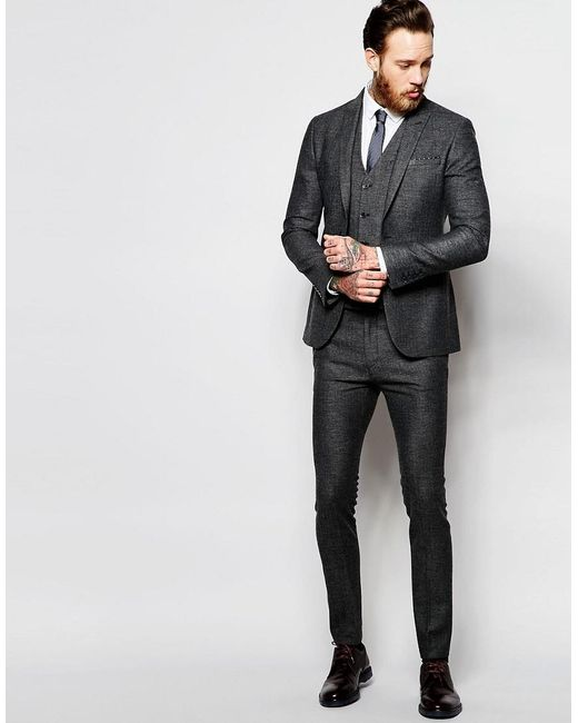 Asos Super Skinny Suit Pants In Gray Tweed in Gray for Men | Lyst