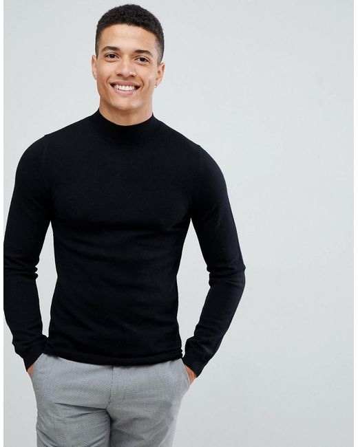 6ce2ad37 ASOS - Muscle Fit Merino Wool Turtle Neck Jumper In Black for Men - Lyst ...