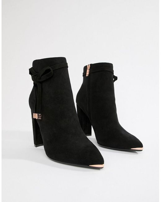 a0af2e40602 Lyst - Ted Baker Black Suede Heeled Ankle Boots With Bow in Black