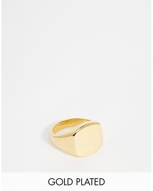 Asos Gold Plated Pinky Ring in Gold for Men