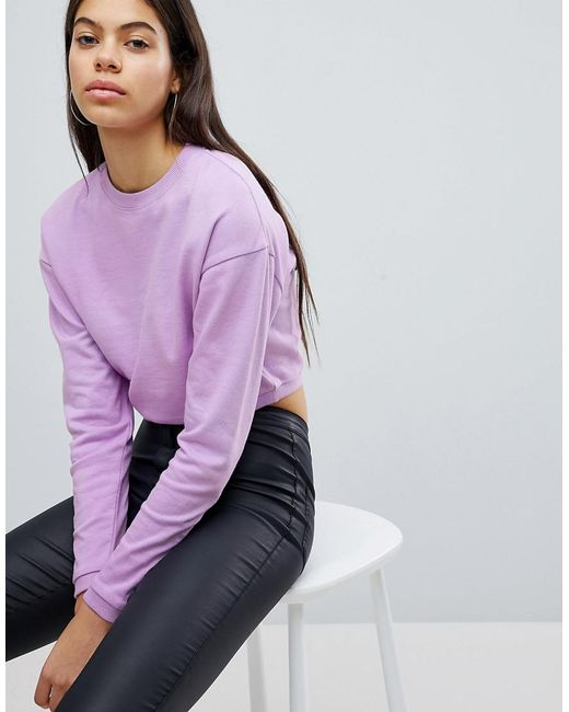 ASOS - Purple Cropped Sweatshirt - Lyst