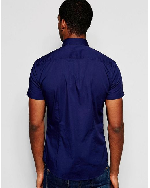Benetton Short Sleeve Shirt In Slim Fit in Blue for Men Navy  Lyst